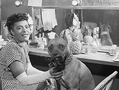 "Billie Holiday w/ Boxer Dog, dressing room, Jazz Music, Lady Day, 14""x10"" photo"