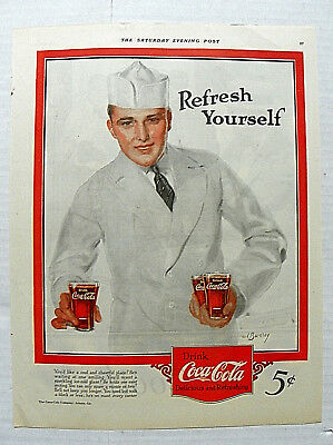 "1924 July,5 Saturday Evening Post ""you'd Like A Cool & Cheerful Place"" Soda Jerk"