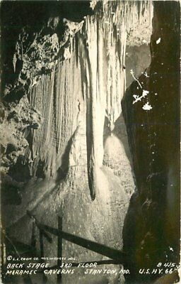 Black Stage 3rd Floor Meramac Caverns 1940s Route 66 RPPC Stanton MIssouri 12559
