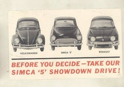 1966 ? Simca 5 vs Volkswagen Beetle & Renault Dealer Postcard wy9627