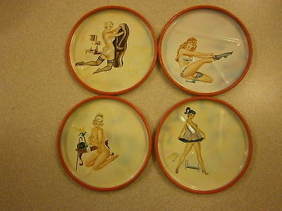 VINTAGE SEXY LADY METAL COASTERS ***1950's***LOT OF 4