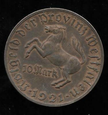 1921 Westphalia Horse 10 Mark German Notgeld