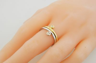 Links Of London 18k White & Yellow Gold .20 tcw Diamond Stackable Ring Size 7.75