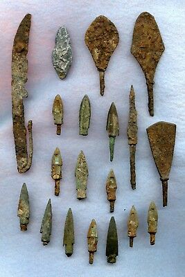 Ancient ~ Chinese Iron Spear/arrows Tips Asst. Lot ~ 22 Pics. ~ Asst. Condition