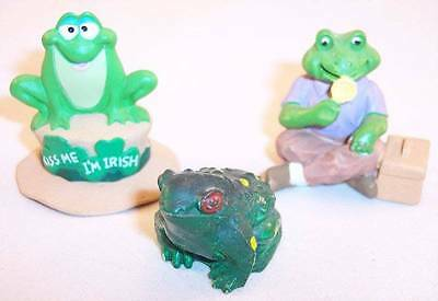 Lot of 3 Very Small Whimsical Frog Figurines