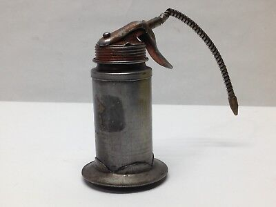 Vintage Plews Oil Can Made in USA Thumb Trigger Oiler Used Industrial Squirt Can