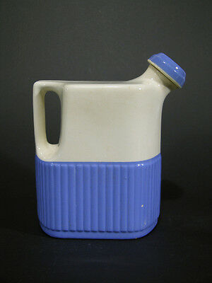 1930s Deco Blue & White Water Pitcher Stopper, Universal Potteries Cambridge OH