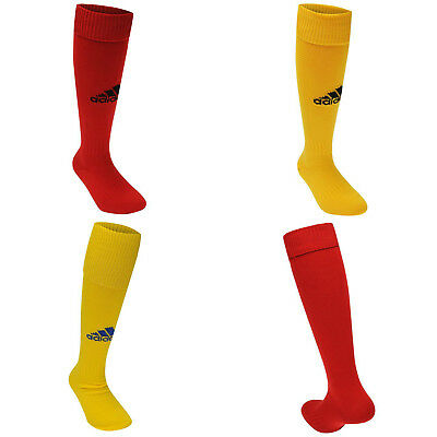 Adidas Milano Socks NEW Mens JNR ADULT 3 Stripe Football Soccer Sports Red Yel