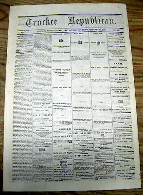 1874 Truckee CALIF newspaper Dental & Medical use of  NITROUS OXIDE Laughing Gas