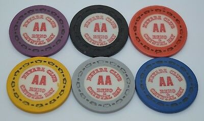 Set of 6 Nevada Club AA Roulette Casino Chips Reno/Crystal Bay NV Sm-Crown Mold