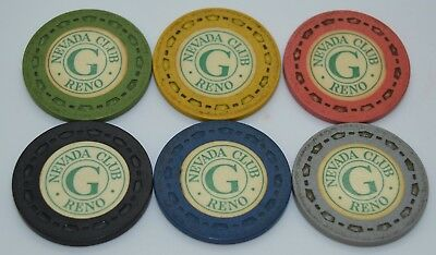 Set of 6 Nevada Club G Roulette Casino Chips Reno Nevada Sm-Crown Mold 1954
