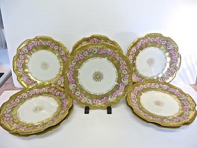 LS&S Set of 8 8 1/2 inch Luncheon Plates Heavy Gold Decoration No Reserve