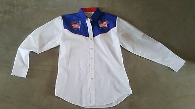 ELI COUNTRY CHARMER PEARL SNAP WESTERN SHIRT American Flag Square Line Dance