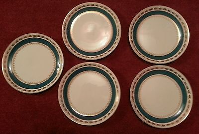 "5 x Vintage Crown Ducal AGR Turquoise 7"" Side Plates C.1940s"