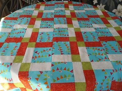 """Colorful 9 Patch Couch Birds on a Wire Throw Size 100% Cotton Quilt Top 53""""x 66"""""""