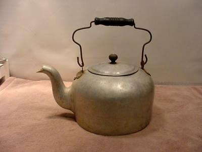 ANTIQUE LARGE ALUMINUM TEA KETTLE with WOOD LID KNOB and HANDLE