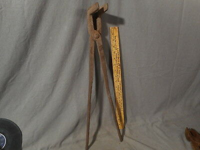 "Antique Hand Forged Blacksmith Offset Tongs Vintage 22"" Long Primitive VTG Tool"
