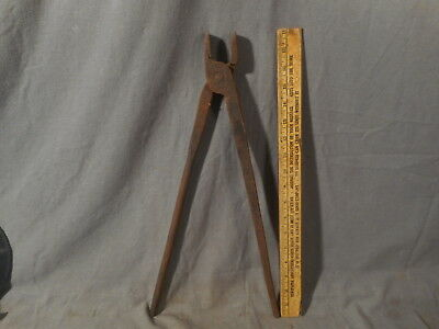 "Antique Hand Forged Blacksmith Tongs Vintage 18-1/2"" Long Primitive VTG Tool"