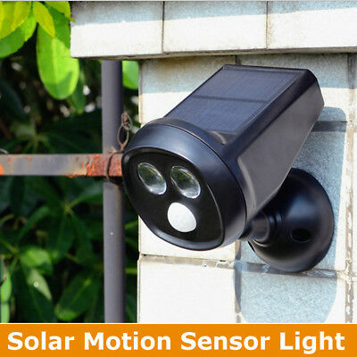 Waterproof 2 LED Solar Power PIR Motion Sensor Wall Light Outdoor Garden Lamp