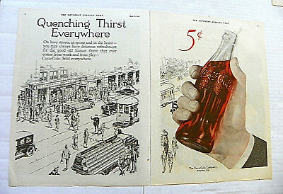 "1922 MAY 27 SATURDAY. EVENING POST 2Pgs ""QUENCHING THIRST"" / HAND HOLDING BOTTLE"