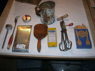 Lot of Antique Vintage Kitchen Utensils Sifter Egg Beater Wood Spoons More