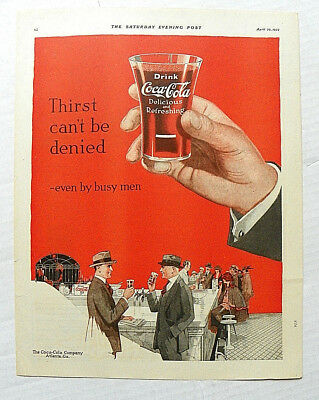 "1922 Apr.29 Saturday Evening Post ""thirst Can't Be Denied"" Hand With Flair Glass"