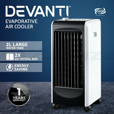 Devanti Evaporative Air Cooler Portable Fan Humidifier Conditioner Cooling Swing