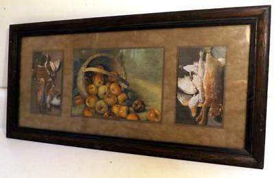 "Antique Game & Fruit Picture in 10x20"" Dark Oak Arts & Crafts Frame c1910s-20s"