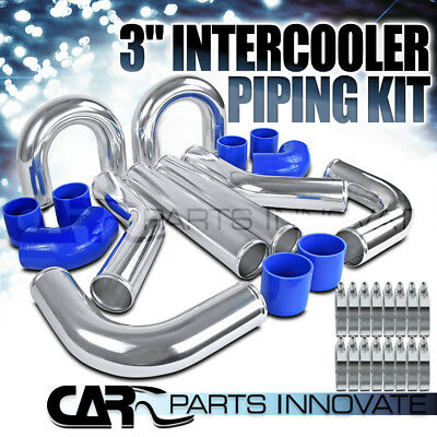 "Chrome Polished Aluminum 3"" FMIC Intercooler Piping Elbow Hose DIY Kit"