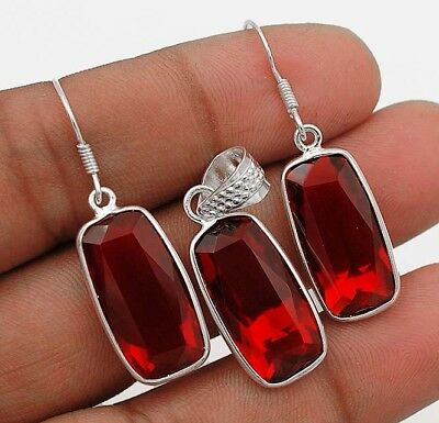 20CT Fire Garnet  925 Solid Sterling Silver Earrings Pendant Set Jewelry