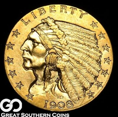1908 Quarter Eagle, $2.5 Gold Indian, BU++ First Year Issue ** Free Shipping!