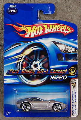 Hot Wheels ~ 2005 First Editions ~ Realistix ~ Ford Shelby Gr-1 Concept ~ Silver