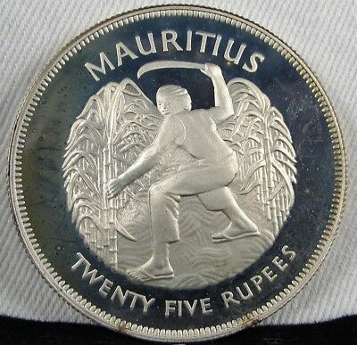 1977 Mauritius GEM PROOF 25 Rupees .925 Silver Coin AD265