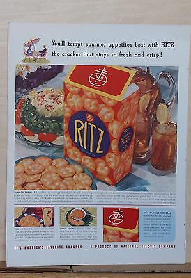 1940 magazine ad for Ritz Crackers - Tempt Summer appetites, colorful ad