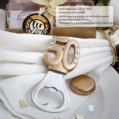 20 Gold Bottle Opener 50Th Anniversary & 50th Birthday Party Gift Favors