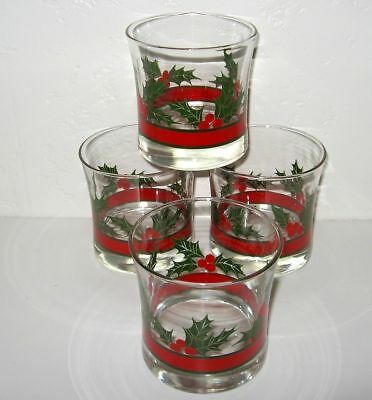 LIBBEY Holly Berries Double Old Fashion Rocks Flaired Set 4 MINT