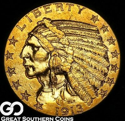 1913 Half Eagle, $5 Gold Indian, Great Look ** Free Shipping!