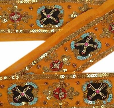 Vintage Sari Border Antique Hand Beaded 1 YD Indian Trim Sewing Patch Decor Lace