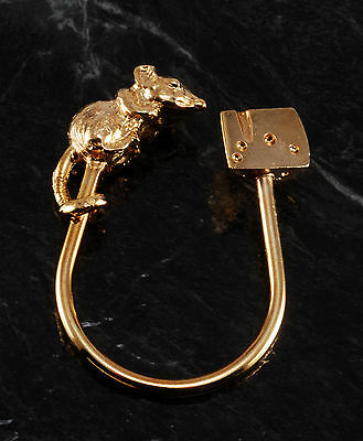 "Vintage ""rat & Cheese"" Shiny Gold Plated Brass Horse Shoe Shaped Key Ring Nos"