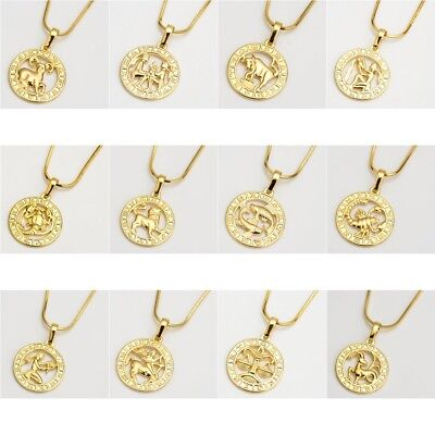 "18k Yellow Gold Filled 12 Horoscope Pendant Necklace 18""Chain Unique Jewelry"