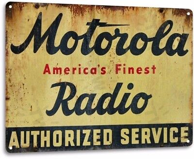 Motorola Radio Vintage Retro Tin Metal Sign