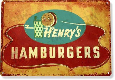 Henry Hamburger Diner Restaurant Vintage Retro Tin Metal Sign