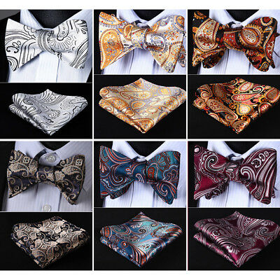 HISDERN Paisley Men Woven Silk Wedding Self Bow Tie handkerchief Set#RF2