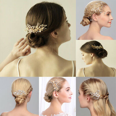 Vintage Wedding Bride Gold Leaves Flower Crystal Pearl Hair Comb Slide Hair Clip