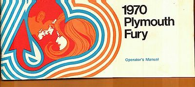 1970 Plymouth Fury Owner's Operator's Manual + Plastic Envelope