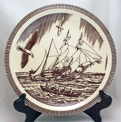 """Distinguished Vernon Kilns """"Moby Dick"""" Luncheon Plate, Rockwell Kent, Excellent"""