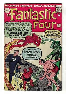 Marvel comics Fantastic four 6 FN- 1962 5.5 Dr Doom sub mariner Namor