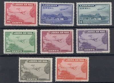 Liberia 1942-4, airmail set(8), maps and planes transatlantic route, NH #C37-44