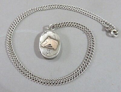 Antique Edwardian Silver & Gold Locket And Chain Horse Pony Design Pendant 1903