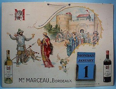 Min Marceau - Bordeaux Advertising Calendar by Herouard, early 1900's